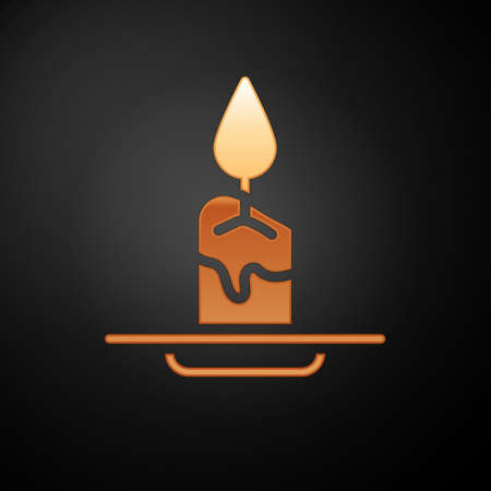 Gold Aroma candle icon isolated on black background. Vector 일러스트