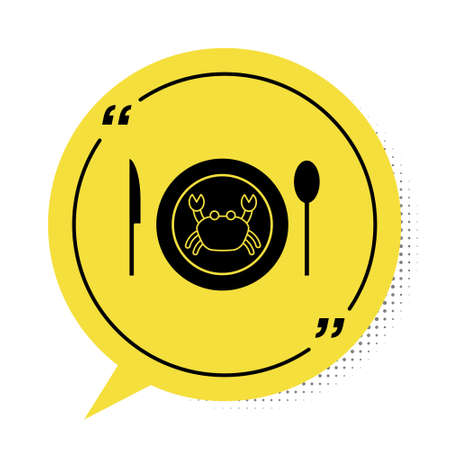 Black Served crab on a plate icon isolated on white background. Yellow speech bubble symbol. Vector.