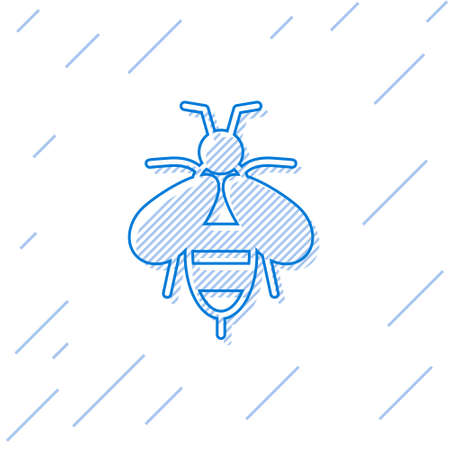 Blue line Bee icon isolated on white background. Sweet natural food. Honeybee or apis with wings symbol. Flying insect. Vector
