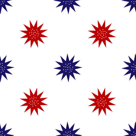 Blue and red Sea urchin icon isolated seamless pattern on white background. Vector.