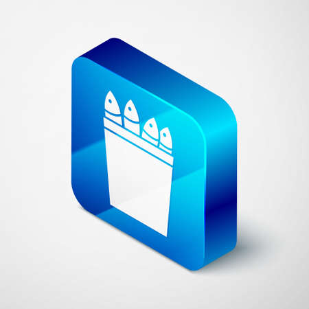Isometric Fishing bucket with fishes icon isolated on grey background. Fish in a bucket. Blue square button. Vector. Illusztráció