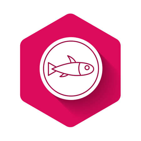White Served fish on a plate icon isolated with long shadow. Pink hexagon button. Vector.