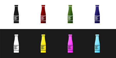 Set Sauce bottle icon isolated on black and white background. Ketchup, mustard and mayonnaise bottles with sauce for fast food. Vector.