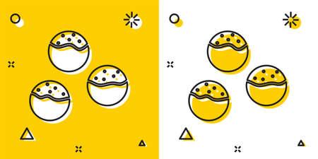 Black Takoyaki icon isolated on yellow and white background. Japanese street food. Random dynamic shapes. Vector.