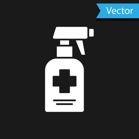 White Bottle of liquid antibacterial soap with dispenser icon isolated on black background. Antiseptic. Disinfection, hygiene, skin care. Vector.