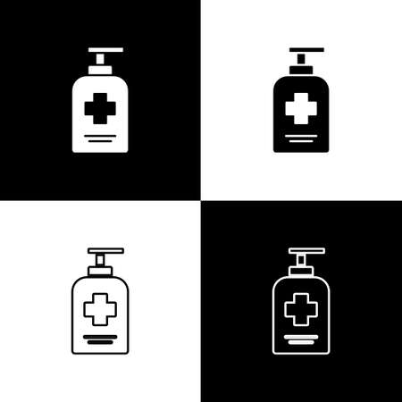 Set Bottle of liquid antibacterial soap with dispenser icon isolated on black and white background. Antiseptic. Disinfection, hygiene, skin care. Vector.