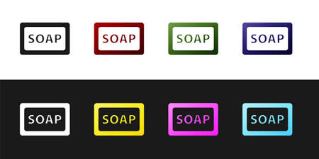 Set Bar of soap icon isolated on black and white background. Soap bar with bubbles. Vector. Vectores