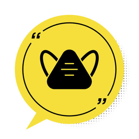 Black Medical protective mask icon isolated on white background. Yellow speech bubble symbol. Vector. Vectores