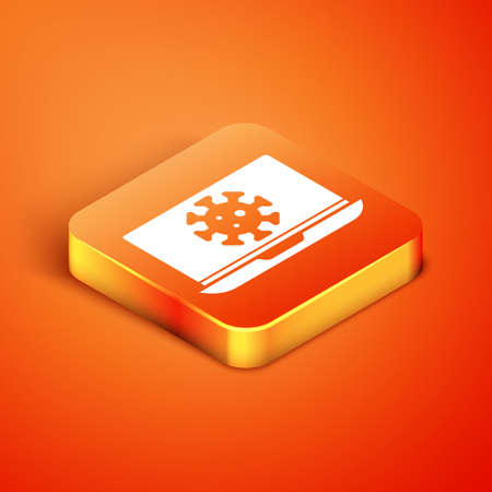 Isometric Virus statistics on laptop icon isolated on orange background. Corona virus 2019-nCoV. Bacteria and germs, cell cancer, microbe, fungi. Vector.