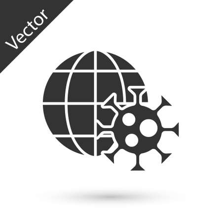 Grey Earth globe with virus icon isolated on white background. Corona virus 2019-nCoV. Bacteria and germs, cell cancer, microbe, fungi. Vector.