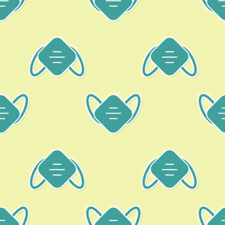 Green Medical protective mask icon isolated seamless pattern on yellow background. Vector.