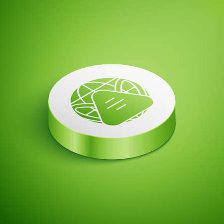 Isometric Earth globe with medical mask icon isolated on green background. White circle button. Vector. Vectores
