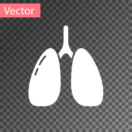 White Lungs icon isolated on transparent background. Vector.