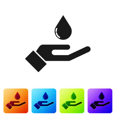 Black Washing hands with soap icon isolated on white background. Washing hands with soap to prevent virus and bacteria. Set icons in color square buttons. Vector. Vectores