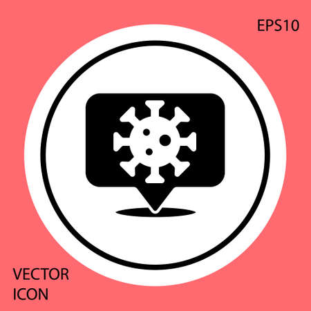 Black Corona virus 2019-nCoV on location icon isolated on red background. Bacteria and germs, cell cancer, microbe, fungi. White circle button. Vector.