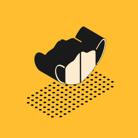 Isometric Medical protective mask icon isolated on yellow background. Vector. Vectores