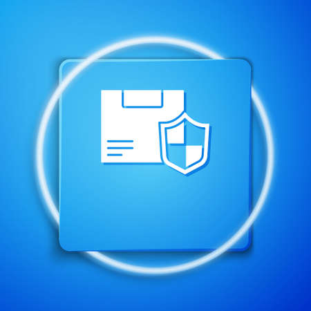 White Delivery security with shield icon isolated on blue background. Delivery insurance. Insured cardboard boxes beyond the shield. Blue square button. Vector.