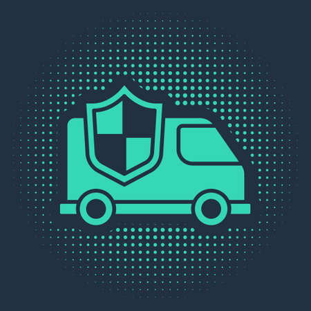 Green Car with shield icon isolated on blue background. Insurance concept. Security, safety, protection, protect concept. Abstract circle random dots. Vector.