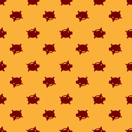 Red Piggy bank icon isolated seamless pattern on brown background. Icon saving or accumulation of money, investment. Vector. Ilustracja