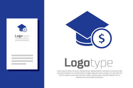 Blue Graduation cap and coin icon isolated on white background. Education and money. Concept of scholarship cost or loan, tuition or study fee. Logo design template element. Vector. Ilustracja