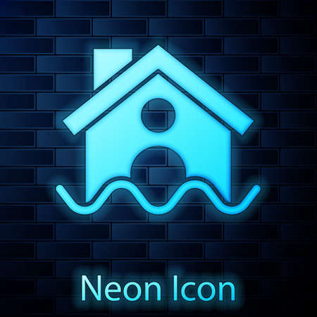 Glowing neon House flood icon isolated on brick wall background. Home flooding under water. Insurance concept. Security, safety, protection, protect concept..