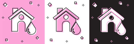 Set House flood icon isolated on pink and white, black background. Home flooding under water. Insurance concept. Security, safety, protection, protect concept..