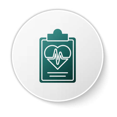 Green Health insurance icon isolated on white background. Patient protection. Security, safety, protection, protect concept. White circle button. Vector.