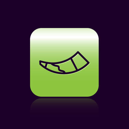 Black line Hunting horn icon isolated on black background. Green square button. Vector