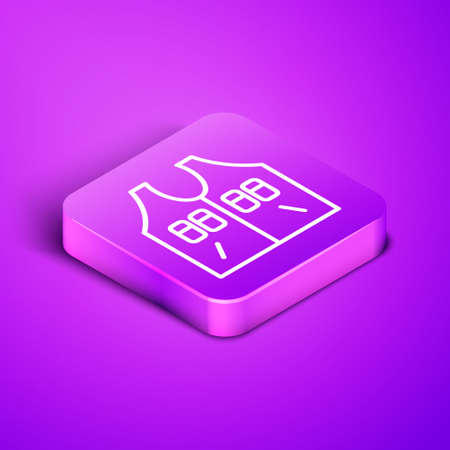 Isometric line Hunting jacket icon isolated on purple background. Hunting vest. Purple square button. Vector
