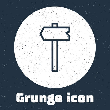 Grunge line Road traffic sign. Signpost icon isolated on grey background. Pointer symbol. Isolated street information sign. Direction sign. Monochrome vintage drawing. Vector