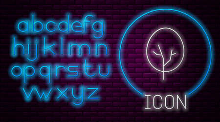 Glowing neon line Tree icon isolated on brick wall background. Forest symbol. Neon light alphabet. Vector 일러스트