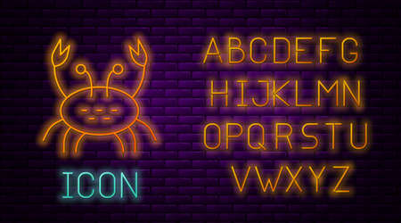 Glowing neon line Crab icon isolated on brick wall background. Neon light alphabet. Vector