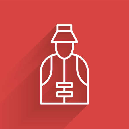 White line Fisherman icon isolated with long shadow. Vector
