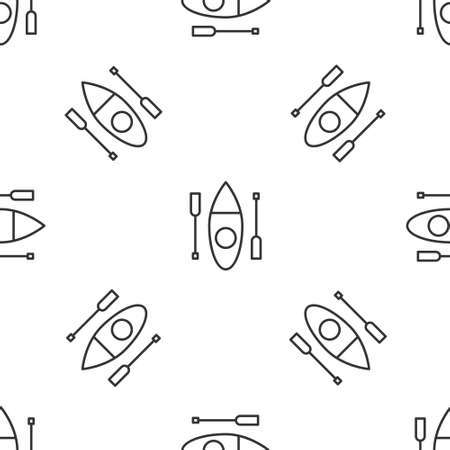 Grey line Kayak and paddle icon isolated seamless pattern on white background. Kayak and canoe for fishing and tourism. Outdoor activities. Vector