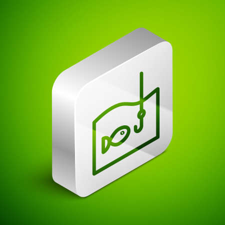 Isometric line Fishing hook under water with fish icon isolated on green background. Fishing tackle. Silver square button. Vector