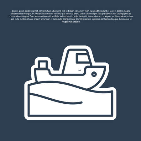 Blue line Fishing boat on water icon isolated on blue background. Vector Ilustração