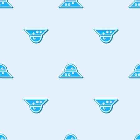 Blue line Fisherman hat icon isolated seamless pattern on grey background. Vector