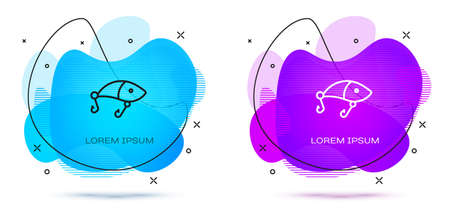 Line Fishing lure icon isolated on white background. Fishing tackle. Abstract banner with liquid shapes. Vector