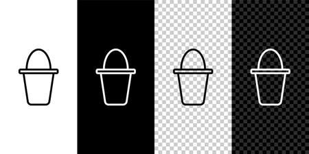 Set line Fishing bucket icon isolated on black and white background. Fish in a bucket. Vector