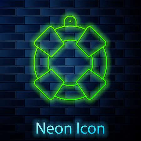 Glowing neon line Lifebuoy icon isolated on brick wall background. Lifebelt symbol. Vector