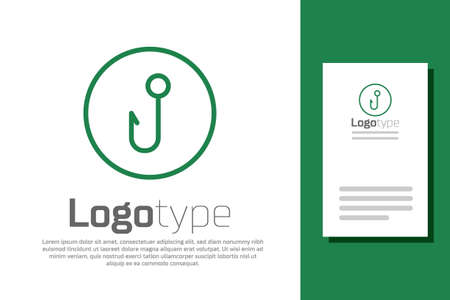 Green line Fishing hook icon isolated on white background. Fishing tackle. Logo design template element. Vector