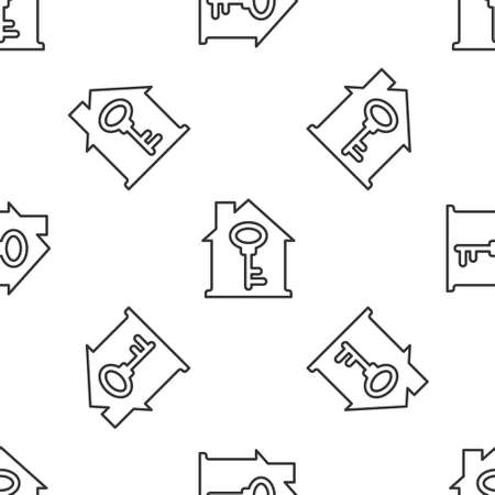 Grey line House with key icon isolated seamless pattern on white background. The concept of the house turnkey. Vector 矢量图像