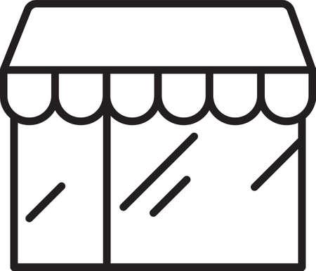 Black line Shopping building or market store icon isolated on white background. Shop construction. Vector Illusztráció
