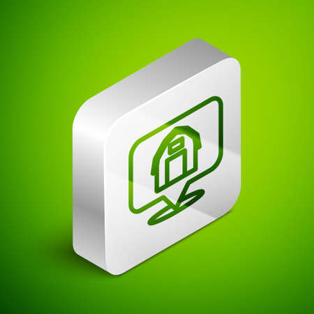 Isometric line Location farm house icon isolated on green background. Silver square button. Vector