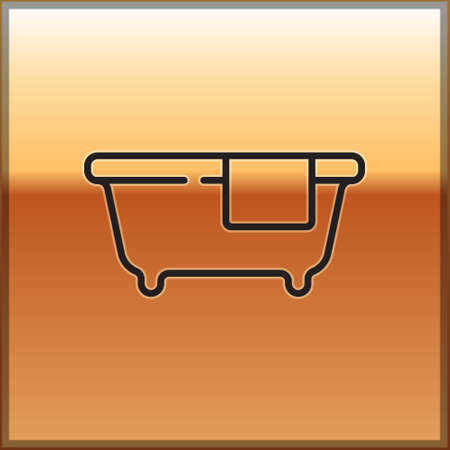 Black line Bathtub icon isolated on gold background. Vector