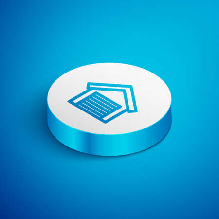 Isometric line Garage icon isolated on blue background. White circle button. Vector Vectores