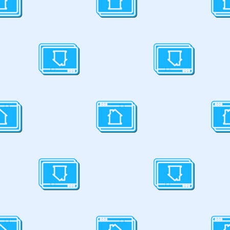 Blue line Online real estate house in browser icon isolated seamless pattern on grey background. Home loan concept, rent, buy, buying a property. Vector 矢量图像