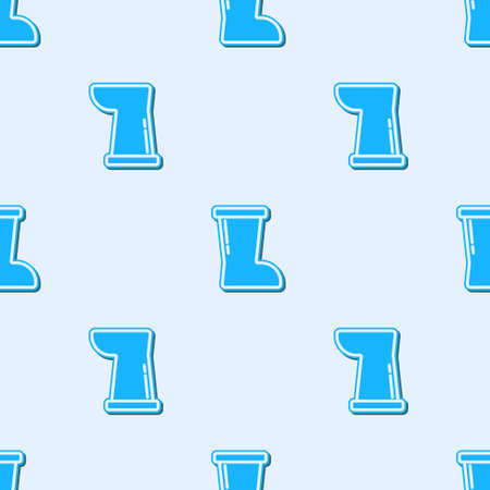 Blue line Waterproof rubber boot icon isolated seamless pattern on grey background. Gumboots for rainy weather, fishing, gardening. Vector 矢量图像
