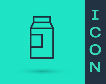 Black line Paper package for milk icon isolated on green background. Milk packet sign. Vector