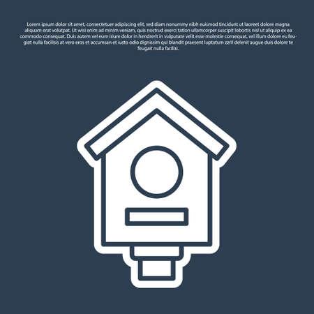 Blue line Bird house icon isolated on blue background. Nesting box birdhouse, homemade building for birds. Vector